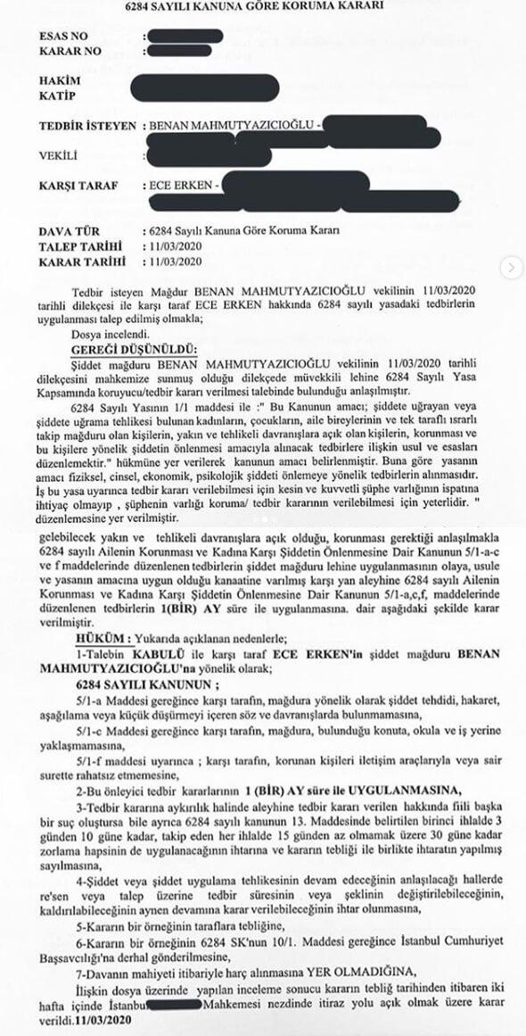 Benan Mahmutyazıcıoğlu, Ece Erken'e karşı koruma kararı aldırdı