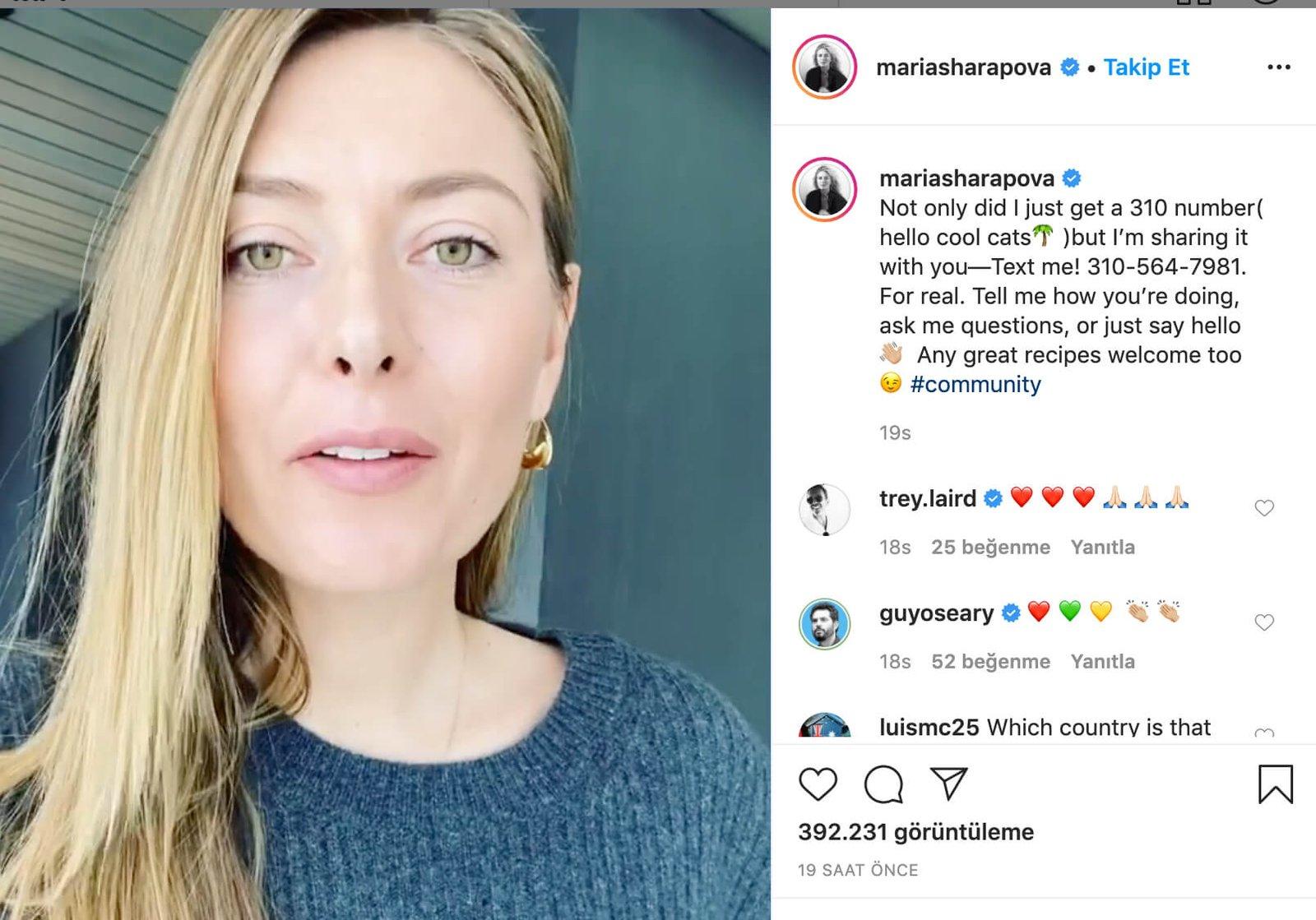 Maria Sharapova telefon numarasını paylaştı!