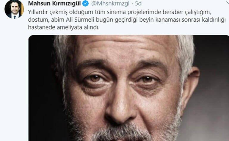 Eşkiya Dünyaya Hükümdar Olmaz dizisinde yer alan usta oyuncu Ali Sürmeli beyin kanaması geçirdi.